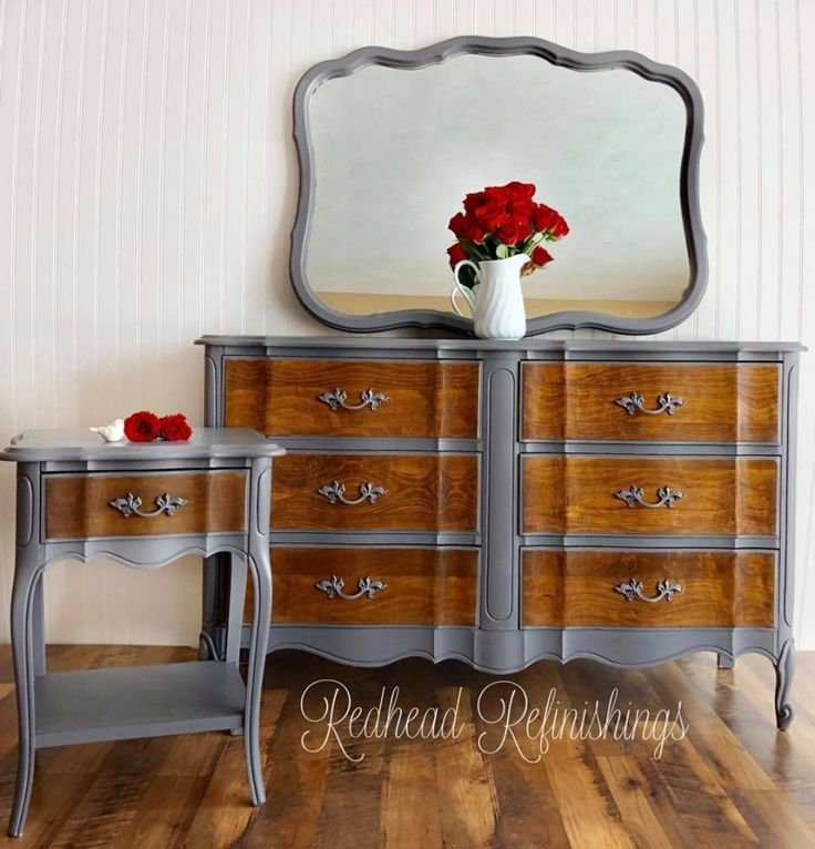 """Check out this fabulous vintage, French provincial nightstand and dresser set by Redhead Refinishings! They comment, """"The drawer fronts were hand sanded and stained in General Finishes Antique Walnut Gel Stain. The body was painted in GF Milk Paint 'Driftwood' and coated in their High Performance Satin Topcoat for durability."""""""