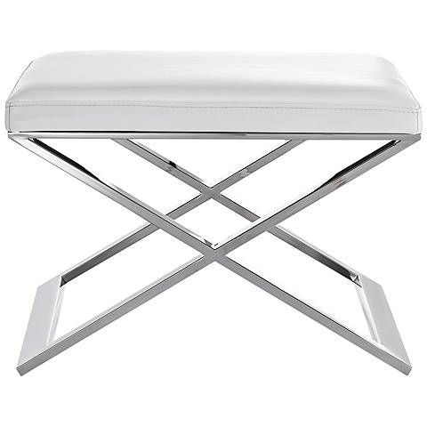 Zino White Faux Leather and Stainless Steel Ottoman - #15Y81 | Lamps Plus