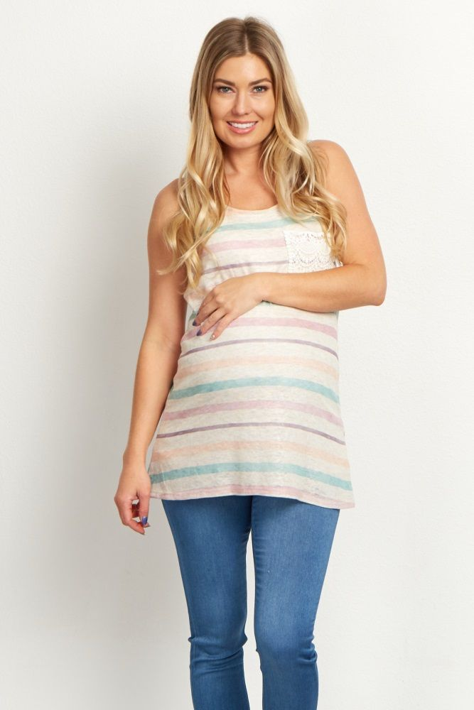 Feminine and chic style have come together in this one maternity top. A classic alternating striped print and a gorgeous lace pocket detail create a casual top you will want to wear day in and day out. Style this top with your favorite jeans and strappy sandals for a complete ensemble.