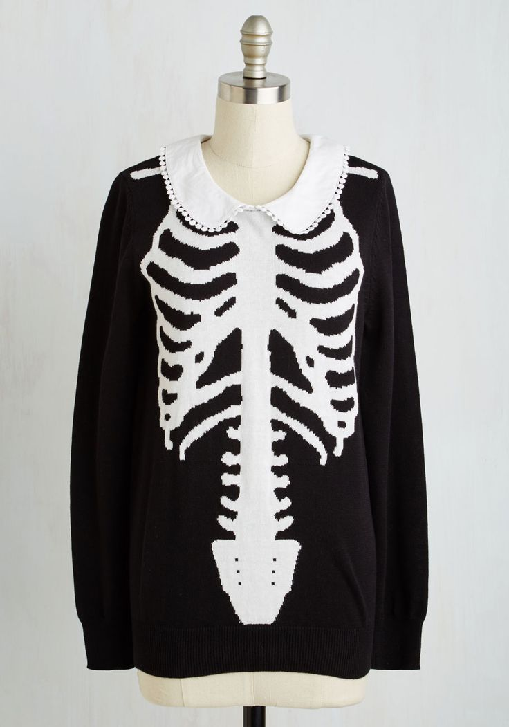 X-Ray Visionary Top. With a penchant for imaginative fashion choices, you faithfully sport this skeletal sweater with gusto! #black #modcloth