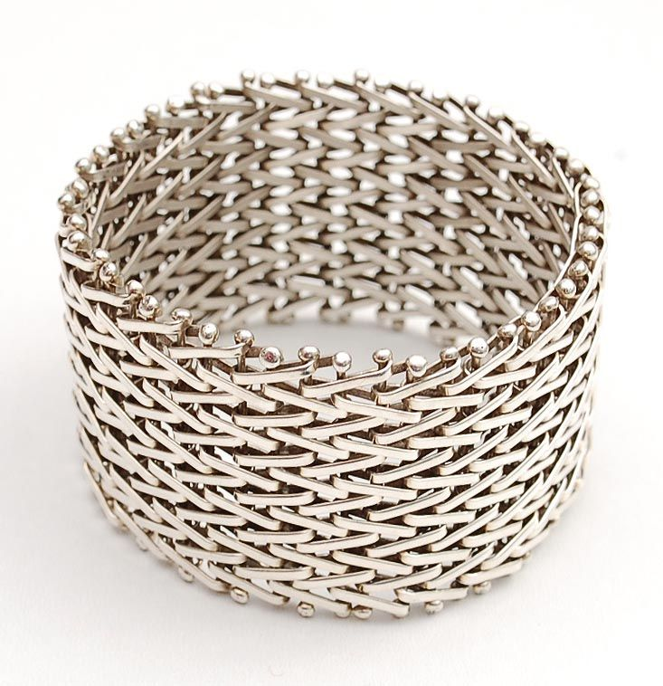 HANS APPENZELLER (1949) - Wide woven silver bracelet, design 1982, execution in own studio, Amsterdam / the Netherlands ca.1995. Diameter: 6.5 cm/ 2.6 inches