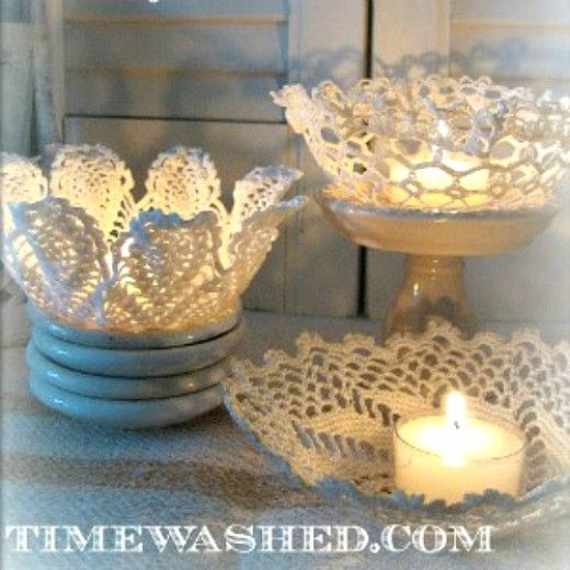 Doily crafts ideas for bridal or baby shower decorating. Over 30 outstanding ideas using lace and paper doilies. Doily craft ideas include angels, lanterns, ornaments, votives, basket, pillows, etc.