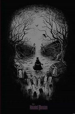 """Disney Parks Retired Haunted Mansion Hatbox Ghost Skull Poster NEW 24"""" X 36"""""""