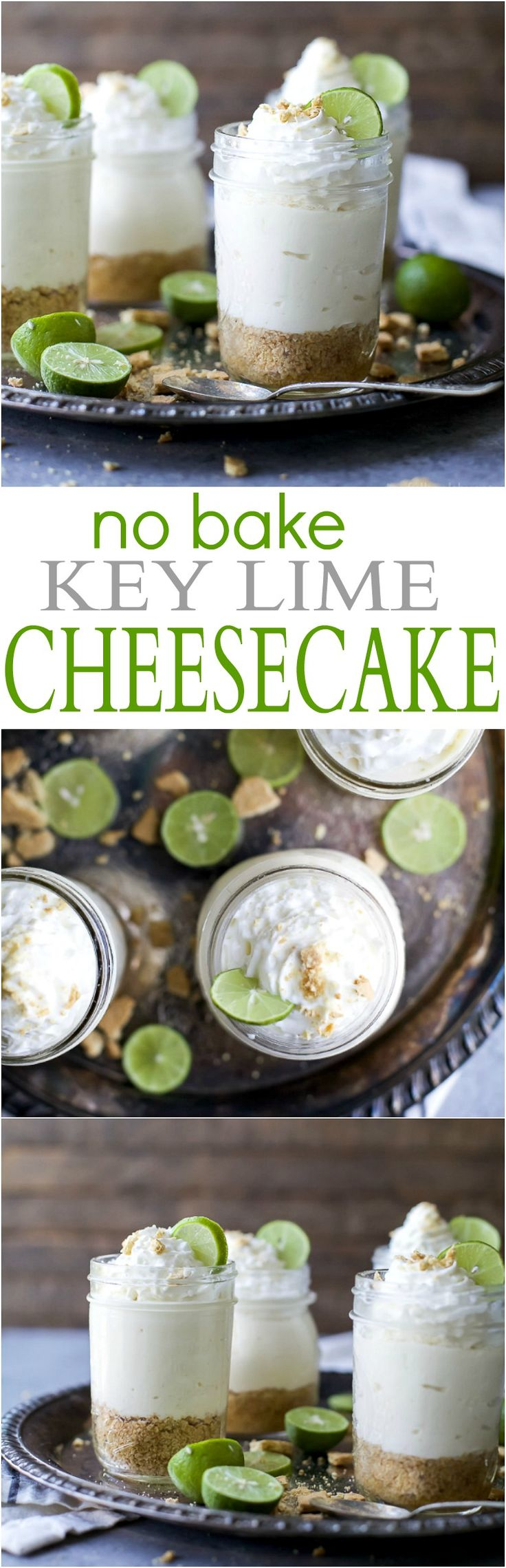 Easy No Bake Key Lime Cheesecake made healthy by using greek yogurt. A perfect light summer dessert to wow the crowd!