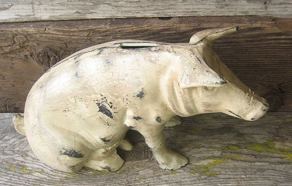 Vintage Cast Iron Rustic Chippy  Pig Piggy Bank by happybdaytome, $225.00
