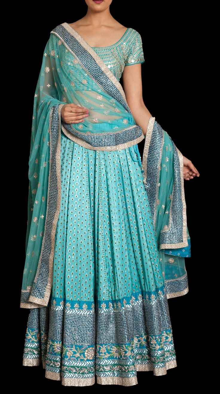 Light Blue ornate ghagra monochrome, sequins
