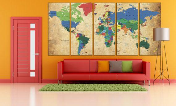 Su questo prodotto: -> Push Pin mondo mappa stampa tela / World Map Wall Art / mappa mondo Wall Decor Utilizziamo tele di qualità museo per raggiungere archival grade parete arte per la vostra casa. Questa tela Galleria avvolto è allungata sul quadro durevole pineta con 1,5(4cm) profondità. Forniamo questo prodotto avvolto en allungato, pronto da appendere! Unboxing -> Hang -> godere! --------------------------------------------------------------------------------- 5 ...