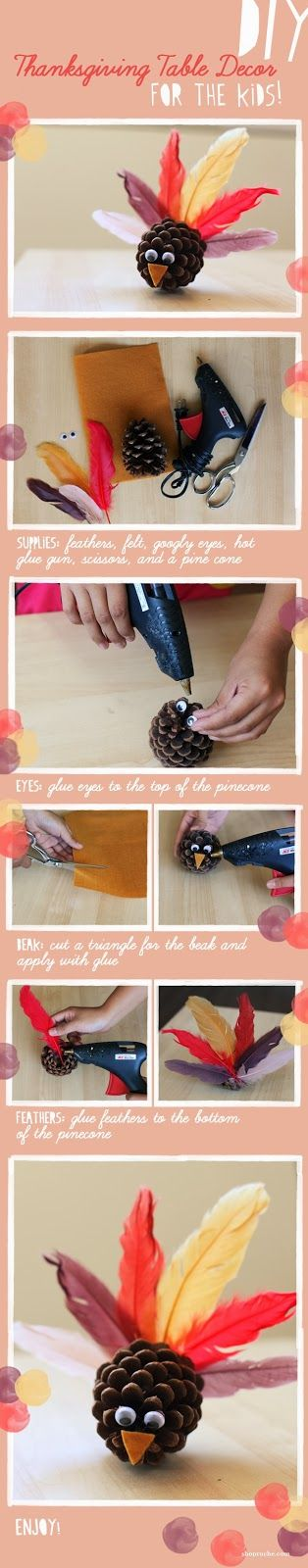 DIY Thanksgiving Pinecone Turkey Decorations