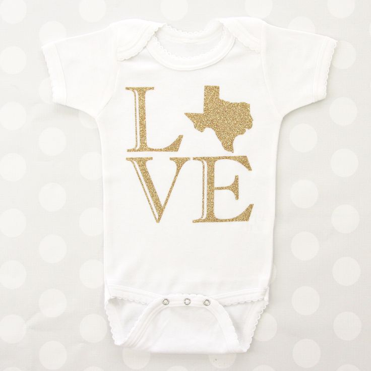 This Love Texas onesie is so cute. Make this cute saying your own by picking your state, vinyl color and onesie color.