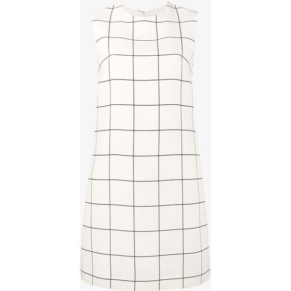 Valentino Silk checked shift dress (£1,235) ❤ liked on Polyvore featuring dresses, white, sleeveless dress, valentino dress, white shift dresses, sleeveless short dress and white sleeveless dress