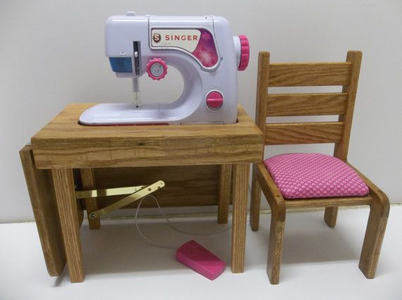 Sewing Machine Table & Chair for American by AllDolledUpInPeoria