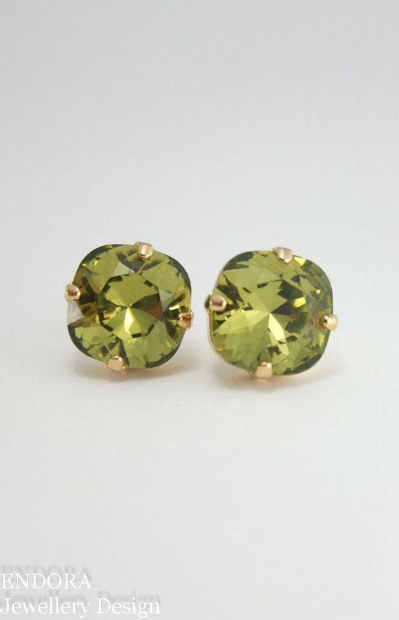 Green Crystal Earrings Olive Khaki Swarovski 10mm Square Gold Stud