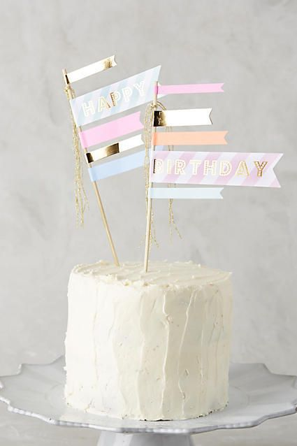 Anthropologie Happy Birthday Cake Flags