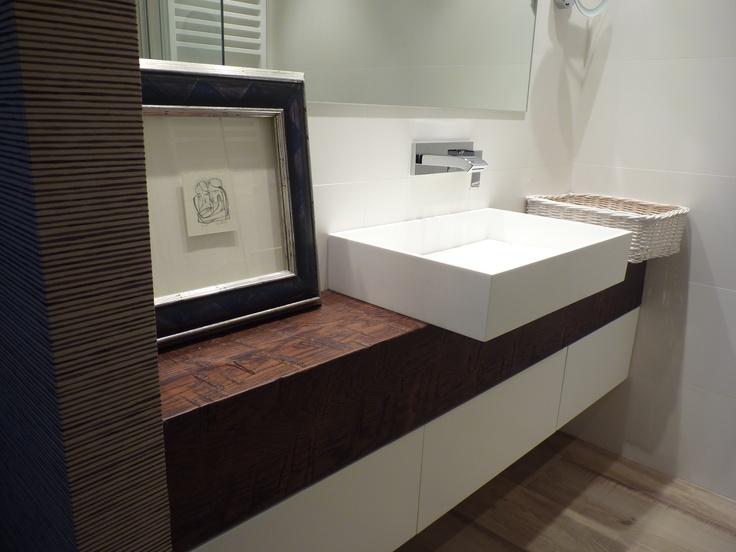 ba o con biga de madera y lavabo en laca blanca dise ado. Black Bedroom Furniture Sets. Home Design Ideas
