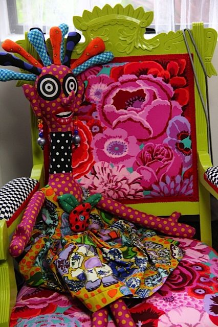 Kaffe Fassett inspiration: floral upholstered chair at Roxanne's A Wish and A Dream