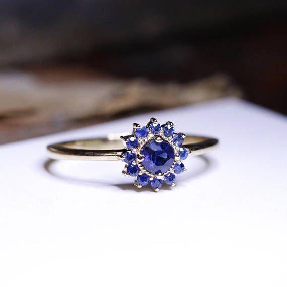 Blue Sapphire Gold Ring Blue Sapphire Ring Birthstone Ring