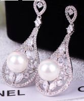 Zircon Pearl Drop earrings Prom Bridal Wedding Gauges tunnels Plugs 8g 6g 4g 2g 3mm 4mm 5mm 6mm