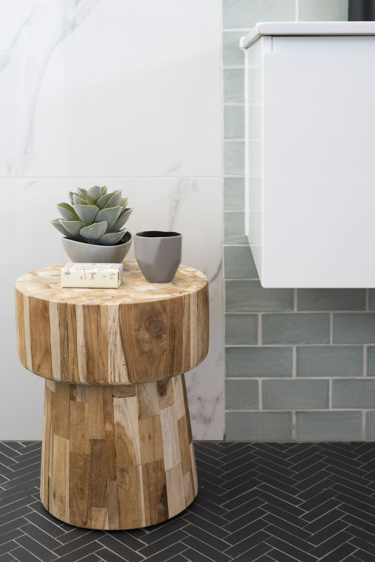 Amber Tiles Kellyville: Three Birds Renovations. Herringbone pattern, Carrara look tiles, subway tiles.