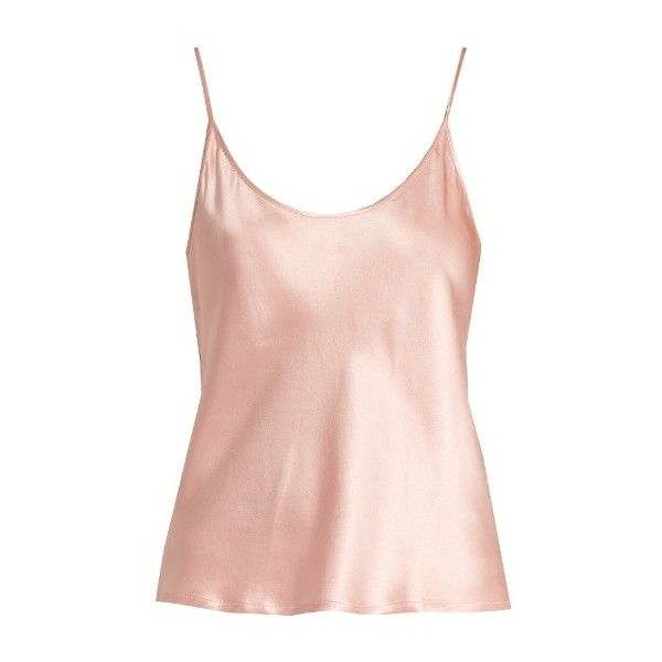 La Perla Scoop-neck silk-satin cami top found on Polyvore featuring tops, shirts, pink, pink tank top, loose fitting tanks, cami tank tops, loose fitting tank tops and pink tank