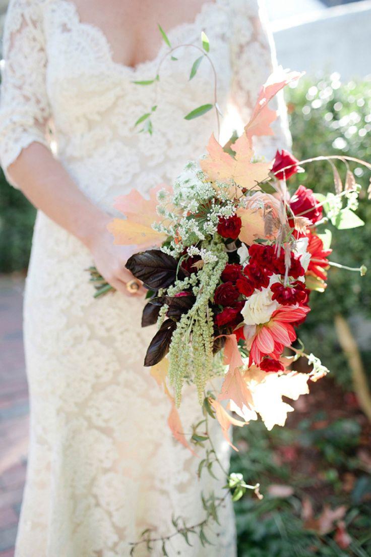 Pretty red free flowing modern cascade bouquet