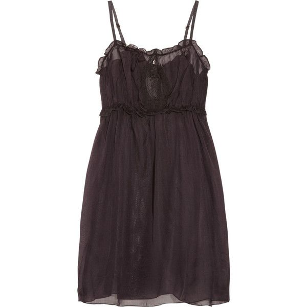 Undrest Silk and lace chemise ($93) ❤ liked on Polyvore featuring intimates, chemises, dresses, lingerie, pajamas, sleepwear, lace chemise, lace lingerie, lace slip and slip lingerie