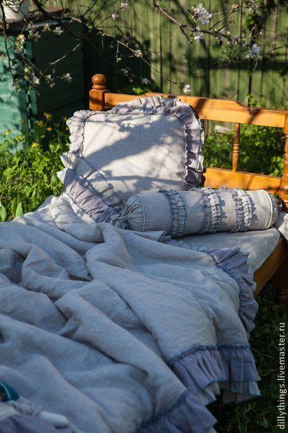 Льняное постельное белье  http://www.livemaster.ru/item/6548735-dlya-doma-interera-valik-shebbi-shik