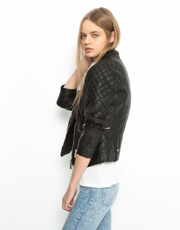 Bershka quilted detail imitation leather jacket - Woman - Bershka Egypt