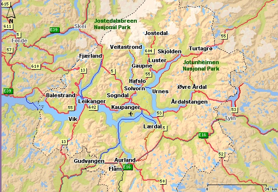 Sognefjord Region Map Norway Trip Planning Pinterest Trip - Norway map of fjords