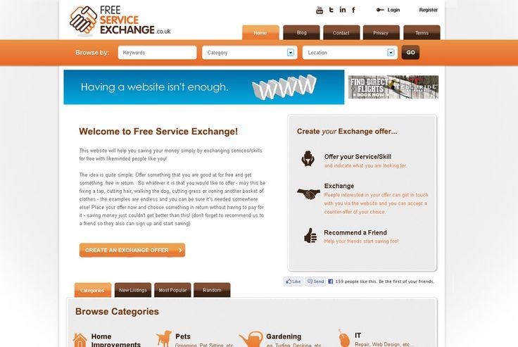 Free Service Exchange - Trade & Swap Services website http://www.freeserviceexchange.co.uk #branding #design #development