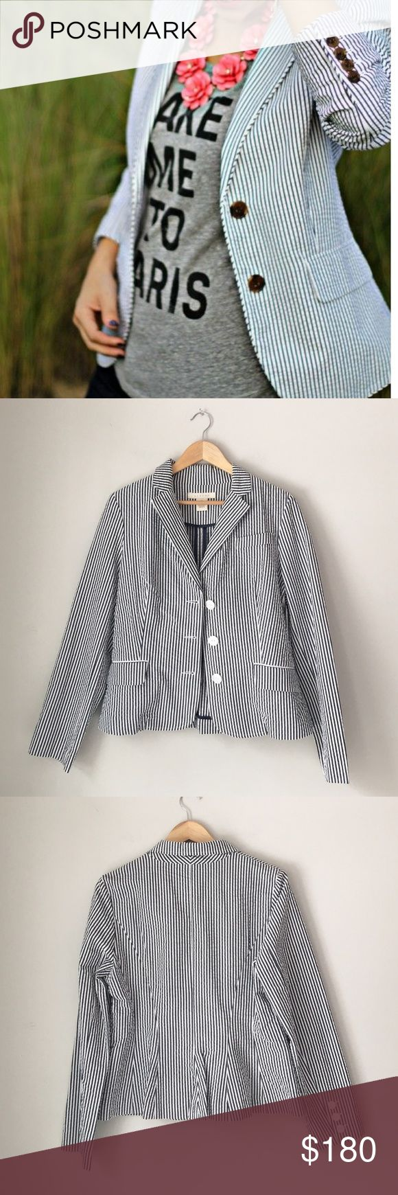Sandro Gray/Blue Seersucker Blazer Gorgeous grayish/midnight Seersucker blazer by Parisian designer Sandro. 100% cotton. Size Medium. NWOT. Sandro Jackets & Coats Blazers