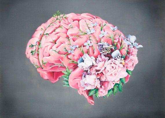 Anatomía floral: Impresión de cerebro de pintura al óleo