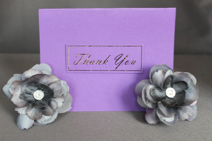 Purple Thank You Cards With Gold Foil by DazzlingCreationsCA on Etsy