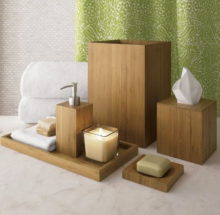 Bamboo Bathroom Accessories: Note the pairing with sage fabrics.