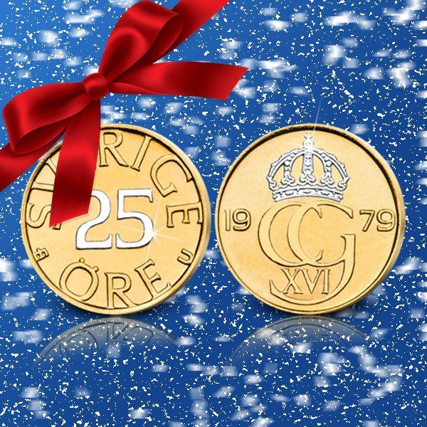Sverige sista 25-öring belagd med guld och platina