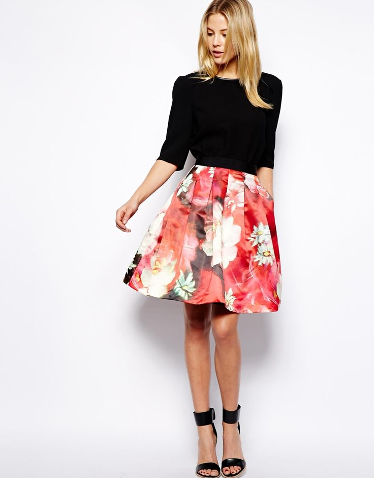 Ted Baker Full Skirt in Rose Print