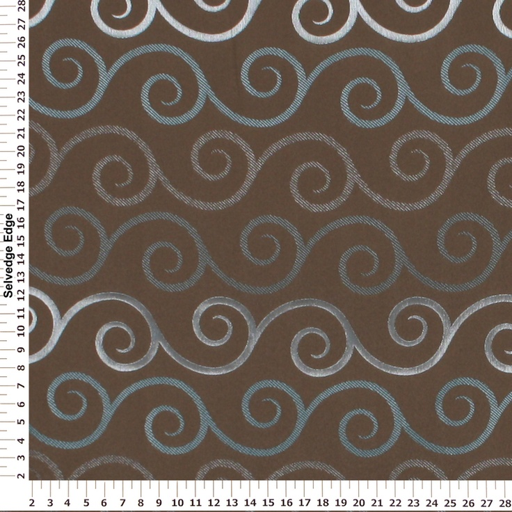 Decorator Fabric Teal And Silver Swirls On Brown Drapery