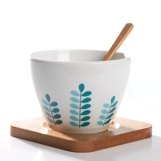 """""""String of Leaves"""" kopp - med bambus fat og skje"""