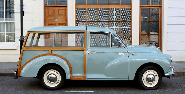 Morris Minor Traveller - had one of these briefly, in this colour, but not nearly as nice to drive as a Herald Estate so didn't keep it for long.