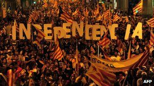 Catalan independence rally in Barcelona 11 September 2012