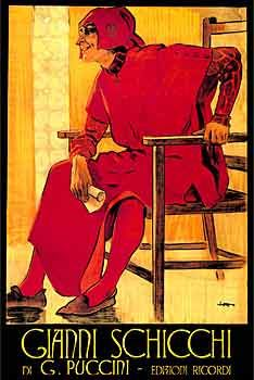 Gianni Schicchi artwork: Giacomo Puccini, Operatic Inspiration, Vintage Poster, Opera Houses Posters, Opera Posters