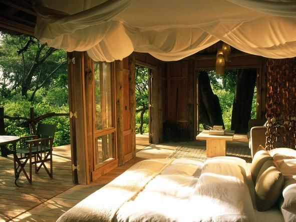 Exclusively located in Lake Manyara Park - Lake Manyara Tree Lodge, #Tanzania. #Romantic #Beds #weloveafrica