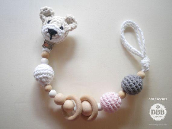 PORTA CHUPETES cabeza osito, Niños y bebé, Juguetes, Niños y bebé, Chupeteros, Crochet, Amigurumis