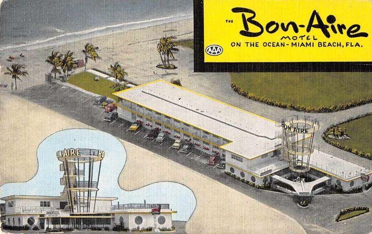 Miami Beach Florida Bon Aire Motel Art Deco Hotel Linen Antique Postcard J59375 | Collectibles, Postcards, US States, Cities & Towns | eBay!