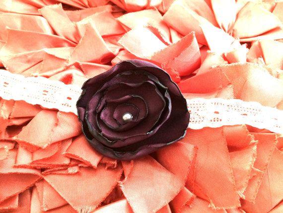 2 1/2'' Deep Purple Burned Edge Flower with Pearl by LittleShneebs, $6.00  #littleshneebs #babygirl #velcroheadbands #headbands #gift #Valentinesday https://www.facebook.com/littleshneebs