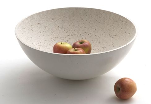 Hand cast polished concrete bowl by Stephan Schulz. Industrial strength elegance.