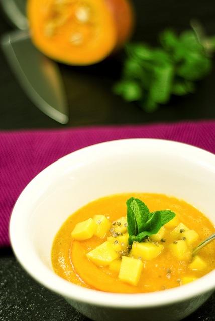 Raw Hokaido Pumpkin soup with mango, corriander seeds and mint.