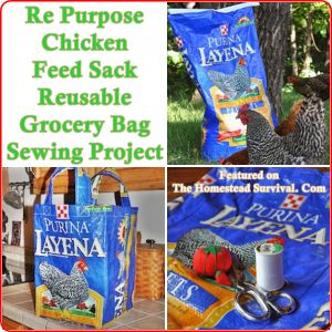 The Homestead Survival | Re Purpose Chicken Feed Sack Reusable Grocery Bag Sewing Project | http://thehomesteadsurvival.com  Homesteading -