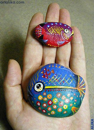 Two Pebble Fish -- website FULL with painted pebbles !!