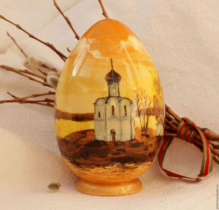 """Купить Яйцо-шкатулка из дерева с авторской росписью 15см. """"Покрова на Нерли"""" - пасхальное яйцо"""