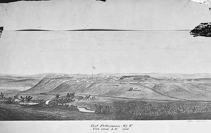 William Henry Jackson's sketch of Fort Fetterman, 1870, looking northeast with La Prele Creek in the foreground. National Archives.